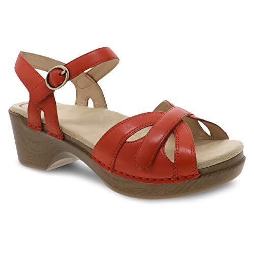 Dansko Women's Season Orange Burnished Sandal 9.5-10 M US