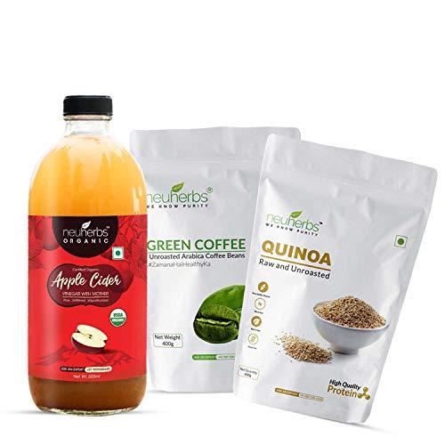 Neuherbs Weight wellness Pack (Organic Apple cider Vinegar 500ML + Green coffee beans 400g + Quinoa seeds 400g)