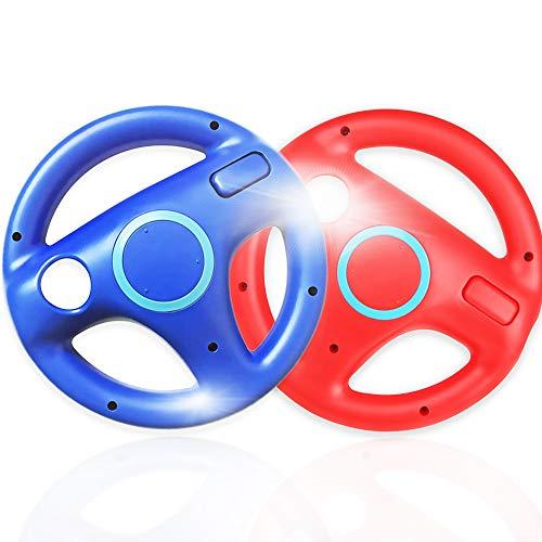 2 Stück Racing Lenkrad für Wii Fernbedienung,Surnous Wheel für Wii Kompatibel mit Wii Mario Kart Racing Wheel für Wii Game Lenkrad für Wii Mariokart Racing Spiele (Rot&Blau)