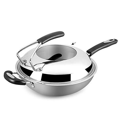 DQM Wok Pan met Premium Deksel en Bonus Spatula, 13 Inch RVS Fry Pan met Ergonomisch Handvat en Antistick Scratch, Resistant Oppervlak