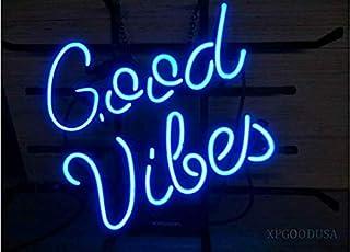 "XPGOODUSA Blue Good Vibes neon light sign- 17""×13"" bar signs for Home Bedroom Garage Neon Decor Wall Window Neon lights, S..."