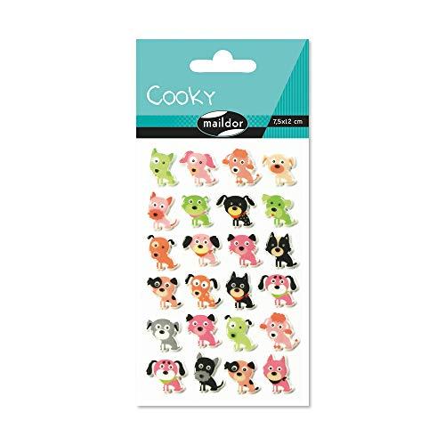 Maildor CY033O Packung mit Stickers Cooky 3D (1 Bogen, 7,5 x 12 cm, ideal zum Dekorieren, Sammeln oder Verschenken, Hunde) 1 Pack