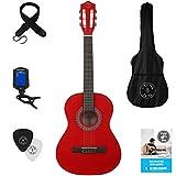 Stretton Payne Kindergitarre, Konzertgitarre, Klassisches Gitarrenpaket 3/4 Größe (36 Zoll) Klassische Nylonsaiten-Kindergitarre im Paket - Rot