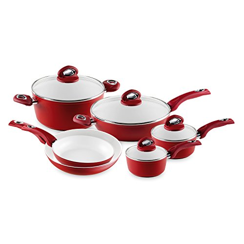 Bialetti Aeternum 10 Piece Nonstick Cookware Set, Ceramic Interior, Red