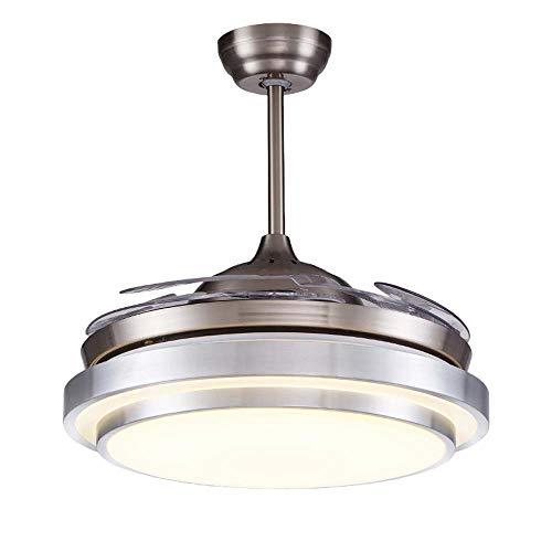 SWNN Lámparas de araña de 42 pulgadas para ventilador de fácil vida con control remoto, moderno, restaurante, dormitorio, hogar, silencio, lámpara LED plateada de 49 cm x 40 cm