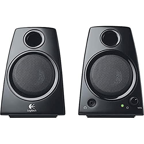 Logitech Z130 PC-Lautsprecher, Stereo Sound, 2 Lautsprecher, 10 Watt Spitzenleistung, 3,5 mm Eingang, Klarer Sound, Regler am rechten Lautsprecher, EU Stecker, PC/TV/Handy/Tablet - schwarz