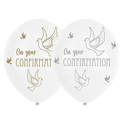 amscan 9904539 Confirmation White Dove Latex Balloons 28cm-6 Pcs