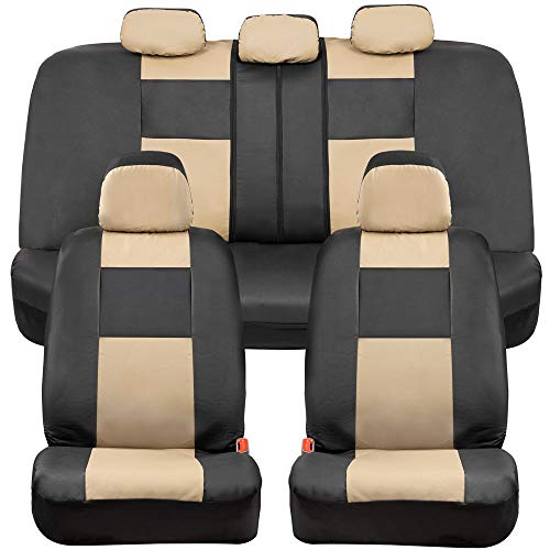 BDK Croc Skin Faux Leather Car Seat Covers, Full Set Beige – Universal Fit Design, Airbag Compatible, Front and Back Seat Cover for Cars Trucks Vans and SUVs