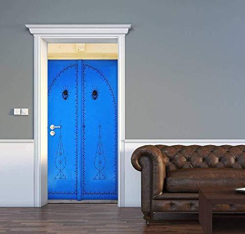 FDASLJ Adhesivos para Puertas Mural De Puerta Creativo Azul de Madera Arco 90x210CM Puerta Fotos De Póster Autoadhesivo Pegatina Extraíble Vinilo Papel Pintado Arte Decorativos Regalos