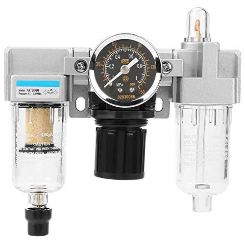 Regulador de Filtro de Aire - Regulador de presión del Filtro de la Unidad de Tratamiento de Gas de la Fuente de Aire G1/4 con manómetro