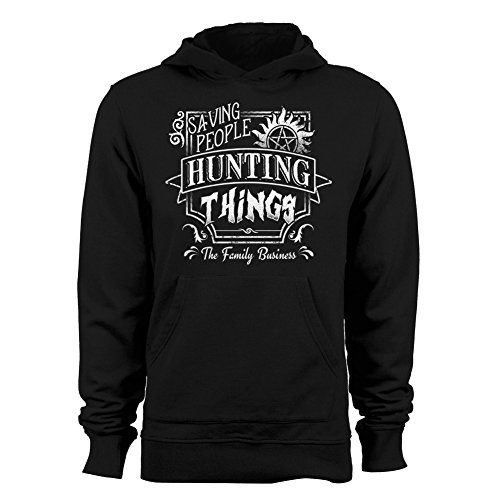 GEEK TEEZ Saving People, Hunting Things Men's Hoodie Black X-Large