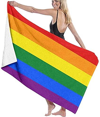 BAOYUAN0 Toalla de Playa Gigante Bandera del Arco Iris Gay Toalla de Playa Toalla de baño Absorbente Grande 80 * 130cm Accesorios para Acampar Manta de Picnic