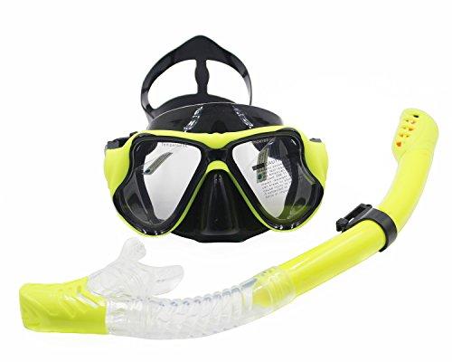 Attrezzatura per lo Snorkeling Maschera Ventilazione Facile, Antiappannamento Mascherina di Immersione Subacquea e Snorkeling Tubo per Adulti (Giallo)