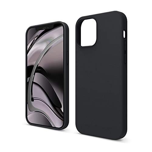 """elago Silicona Líquida Funda Compatible con iPhone 12 Case y Compatible con iPhone 12 Pro Case (6.1""""), Silicona Premium, Protección Funda Protectora 3 Tapas Estructura (Negro)"""