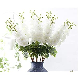 Skyseen Set of 2 Stems 31″ Artificial Antirrhinum Snapdragon Silk Delphinium Flowers Wedding Home Décor