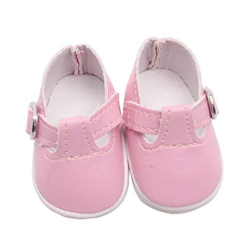 BestMall 2 Pairs Dolls Shoes for Mel-chan Mellchan Baby Doll, for 9-12inch Reborn Doll, Stylish Flats Sneakers, PU Leather, Black & Pink Color