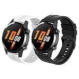 Tosenpo Correa para Huawei Watch GT 2 46mm/Huawei Watch GT/Watch GT 2e,Correas de Reloj Deportivas Ajustables de Silicona de Repuesto con Hebilla negra (Negro+Blanco)