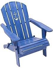 Pureday Silla de jardín Ancla-Adirondack Silla Plegable-marítimo Look-Madera-Azul