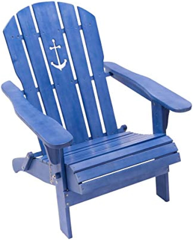 Purotay Outdoor-Stuhl Anker - Adirondack Chair klappbar - Maritimer Look - Holz - Blau