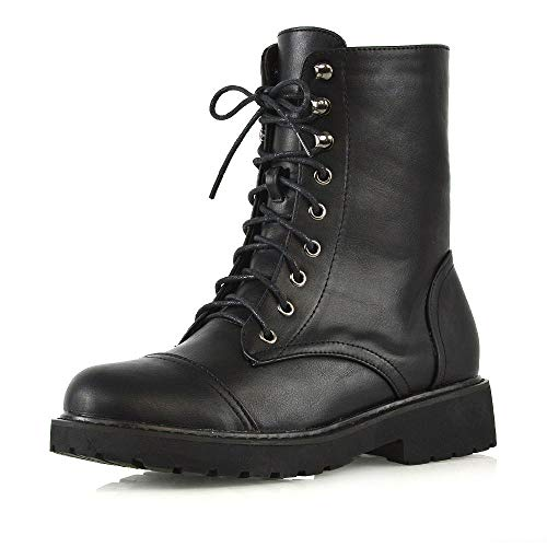 Womens Lace Up Ankle Boots Chunky Grip Sole Ladies Winter Retro Combat Goth...