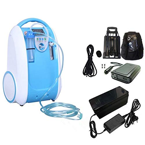 Caredaily Portable o2 Concentrator Generator, O2 bar for Home, Outside and car Using with Battery, car Inverter and Trolley Included