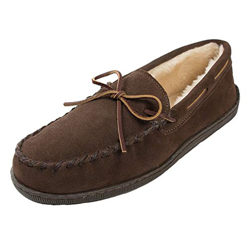 Minnetonka Men's Pile Lined Hardsole Slipper,Chocolate,11 M US