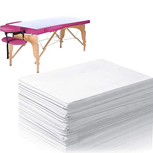 Kamenda Lot de 100 draps de lit jetables en tissu non tissé imperméable pour massage, beauté, salon, spa, tatouage, hôtel, lit, anti-salissure, partie blanche
