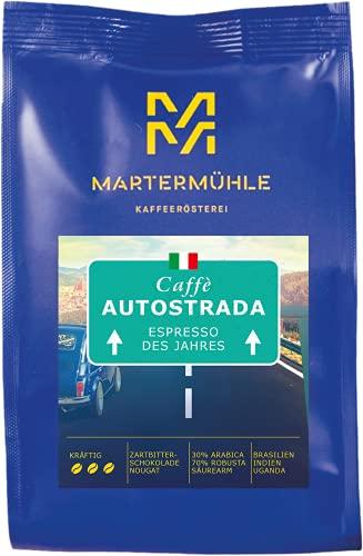 Martermühle I Espresso Caffé Autostrada I Espresso des Jahres I Ganze Bohnen I Premium Espressobohnen I geröstete Espressobohnen I Espresso säurearm I 30% Arabica & 70% Robusta I 500g