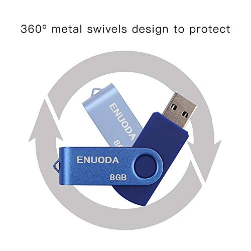 5 Stück 8GB USB Stick ENUODA Speicherstick Rotate Metall Mehrfarbig High Speed USB 2.0 Flash Drive Pack (Rot,Grün,Schwarz,Blau,Violett)