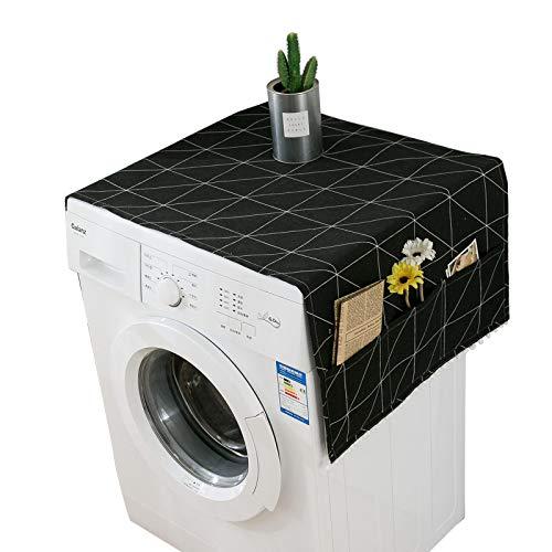 C/N Housse de Protection pour réfrigérateur Housse pour Lave-linges avec Poches de Rangement latérales Couverture Anti-poussière réfrigérateur Housse de Lave-Vaisselle Polyvalente en Lin en Coton