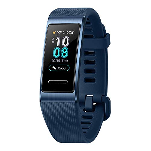 Huawei Band 3 Pro Band Bluetooth 0,95 Zoll AMOLED Touchscreen Eingebauter GPS Fitness Tracker Herz- und Schlafmonitor Schwimmen Wasserdichtes Smart Band (Blau)