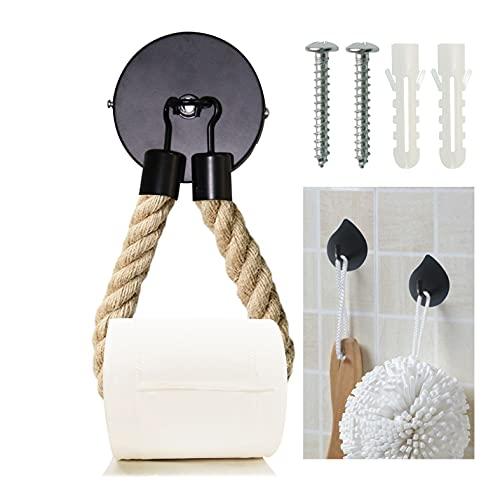 Toilettenpapierhalter Vintage Klopapierhalter Mit Bohren Klopapierrollenhalter Handtuchhalter Schwarz Matt, mit 2 Selbstklebend handtuchhaken für Badezimmer Toilette Küche