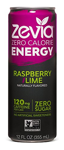 Zevia Zero-Calorie, Naturally Sweetened Energy Drink, Raspberry Lime, 12 Ounce (Pack of 12) Packaging May Vary