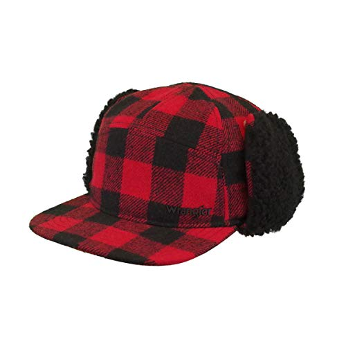 Wrangler Men's Lumberjack Faux Wool & Sherpa Cap, Red