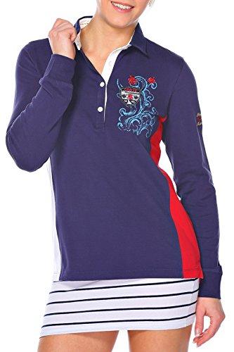 M.Conte dames poloshirt polo-Sweat sweatshirt lange mouwen S M L XL blauw wit rood Munia
