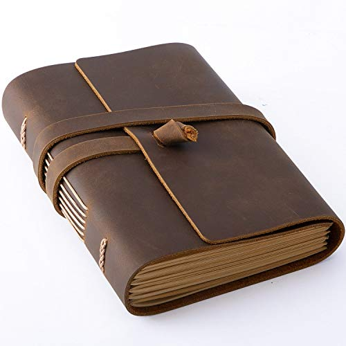 Hotcinfin Genuine Leather Journal Writing Notebook, 288 Pages Rustic Handmade Leather Bound Journals for Men and Women - Kraft Lined Paper, Leather Book Travel Diary Notebook, Brown(5x7)