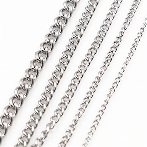 WXJ 5 mètres/lot jamais fondu épaissir Les chaînes de Collier en Acier Inoxydable,DIY Constatations de Bijoux Faire des matériaux Fournitures à la Main (Color : Stainless Steel, Size : 1.8x1.2 mm)