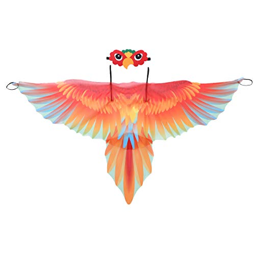 Yeahdor Kinder Papagei Flügel Umhang Kostüm & Maske Vogel Cape Karnevalskostüm für Auftritt Performance Verkleidung Rot One Size