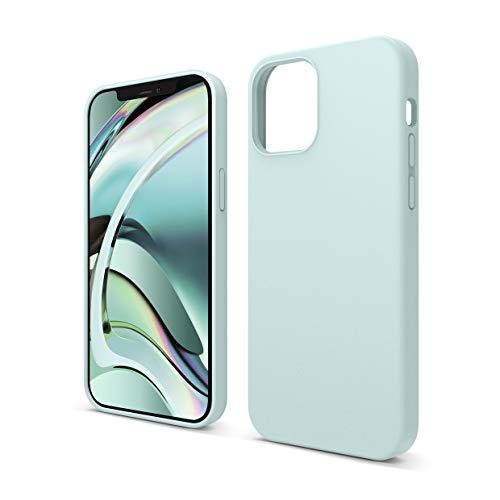 """elago Silicona Líquida Funda Compatible con iPhone 12 Case y Compatible con iPhone 12 Pro Case (6.1""""), Silicona Premium, Protección Funda Protectora 3 Tapas Estructura (Verde Menta)"""