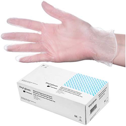 HeroTouch Vinyl puderfrei Einmalhandschuhe, 100 Stück, Größe M, Vinylhandschuhe transparent in praktischer Spenderbox, Einweghandschuhe Hygiene, 100% Vinyl
