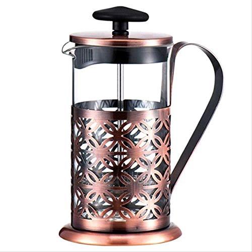 Nobrand Koffiekan, 600 ml, roestvrij staal, vintage stijl, handmatig, koffiezetapparaat, glas, theapot, koffie, percolator, Filter Press Plunger Coffeeware