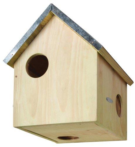 Esschert Design Futterhaus, Futterstation für Eichhörnchen mit Metalldach, DREI Eingänge, ca. 25,3 cm x 26,3 cm x 29 cm