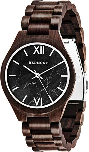 REDMONT Herrenuhr mit Holzarmband Analog Quarz Classic Collection Black Marble Edition