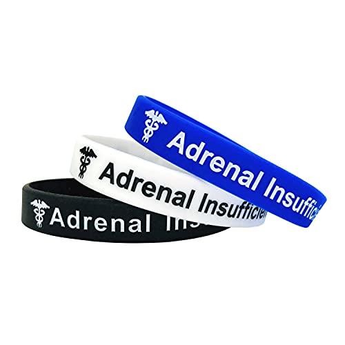 Adrenal Insufficiency Insuficiencia suprarrenal - Juego de 3 Negro Blanco Azul Pulseras para alerta médica de emergencia para Hombre y Mujer de Butler & Grace.