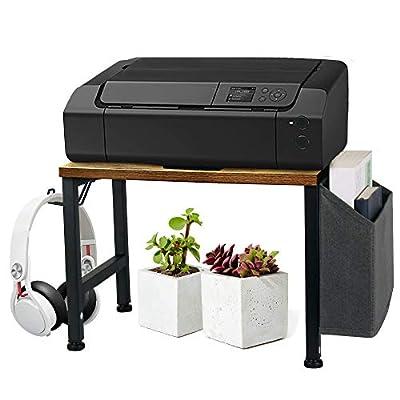 VEDECASA Vintage Wood Desktop Printer Stand Holder with Storage Bin Hook for Home Office, Multi Purpose Organizer Under Desk Industrial Farmhouse Wooden Printer Shelf with Adjustable Anti-Skid Pads