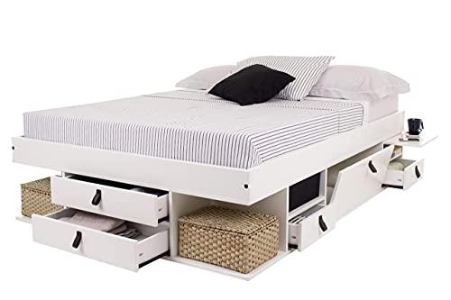 Cama Funcional Bali 140x200 cm Blanco - Estructura con Mucho Espacio de almacenaje y cajones, Ideal para dormitorios pequeños - Madera Maciza de Pino y MDF Lacado - Incl. somier de Madera