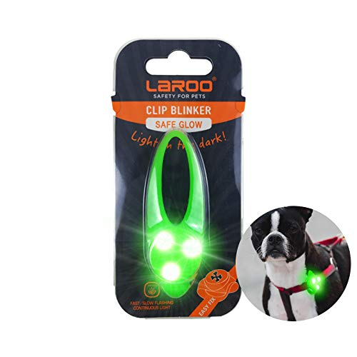 LaRoo Dog Collar LED Light, Clip on Collars Charms Silicone Waterproof Necklaces Blinker Pendants Safety Lights for Night Outdoor Walk with 3 Flashing Modes for Pet Cats Dogs (Green)