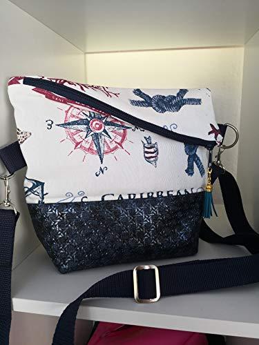 Ausgefallene Damen-Handtasche - Foldover - Blau-Glimmer - Maritim Neu