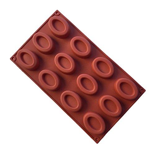MKNzone 1 Stampo in Silicone con 12 Cavità per Cubetti di Ghiaccio, Biscotti, Tortini, Cioccolato, Dolci - Mini ciambelle ovali, consegna casuale(29.7 X 17.2 X 1.7 cm)