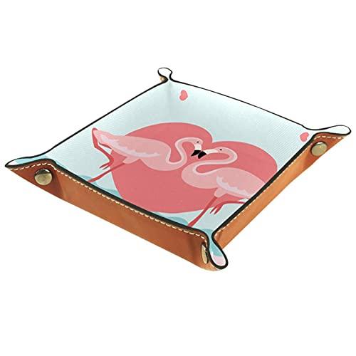 Organizador de canastas de cuero Amantes rosados flamencos para la mesa de estar del escritorio del tocador